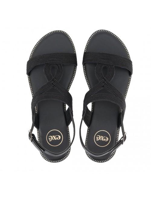 Γυναικείο παπούτσι flat EXE M468D1921001 ΜΑΥΡΟ
